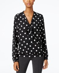 Ny Collection Polka Dot Tie Neck Faux Wrap Top Black White