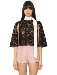 Valentino Heavy Lace And Cady Cropped Cape Top
