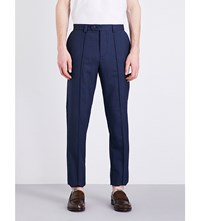 Brunello Cucinelli Slim Fit Tapered Wool Crepe Trousers Navy