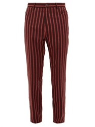 Ann Demeulemeester Striped Mid Rise Wool Blend Trousers Black Red