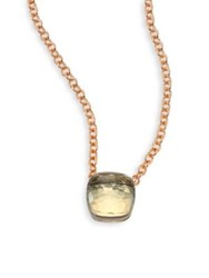 Pomellato Prasiolite And 18K Rose Gold Pendant Necklace