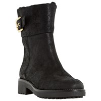 Dune Remi Buckle Detail Long Boots Black Leather