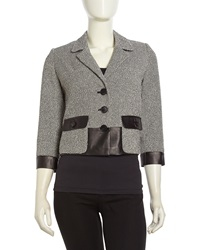 Lafayette 148 New York Tweed Leather Contrast Jacket Black Multi