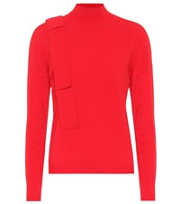 Delpozo Perforated Turtleneck Sweater Red