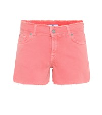 7 For All Mankind Mid Rise Denim Shorts Pink