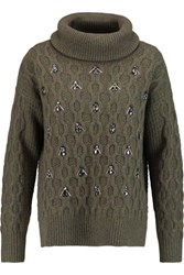 Markus Lupfer Rosannah Embellished Cable Knit Wool Turtleneck Sweater Army Green