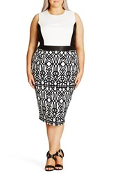 City Chic Plus Size Women's 'Art Deco' Print Block Sheath Dress