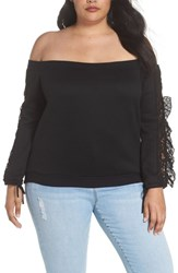 Lost Ink Plus Size Lace Ruffle Sleeve Off The Shoulder Sweatshirt Black