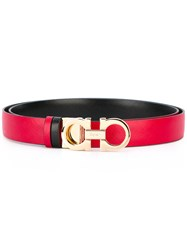 Salvatore Ferragamo Double Gancini Buckle Belt Red