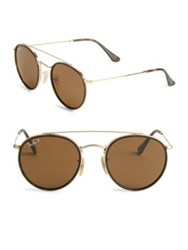 Ray Ban Aviator Round Metal Frame Sunglasses Gold Brown