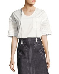 Derek Lam Short Sleeve Poplin And Crochet Top White