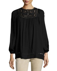 Max Studio Long Sleeve Embroidered Cut Top Black