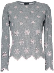 Giambattista Valli Embroidered Flower Jumper Grey