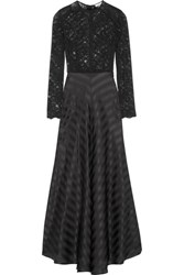Ganni Kendal Lace And Silk Jacquard Gown Black