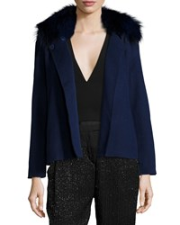 Halston Heritage Double Faced Jacket W Fox Fur Collar Navy