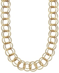 Betsey Johnson Textured Round Link Necklace