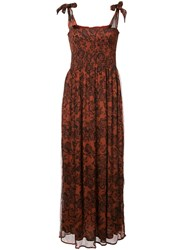 Ganni Rose Printed Maxi Dress Viscose Brown