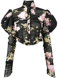 Alessandra Rich Floral Print Puffy Sleeve Blouse Black