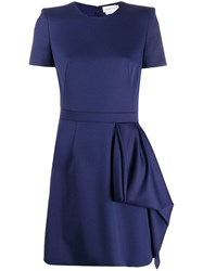 Alexander Mcqueen Draped Panel Dress Blue