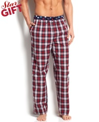 Tommy Hilfiger Men's Deep Red Plaid Woven Pajama Bottoms