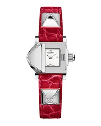 Hermes Medor Mini Watch With Diamonds And Red Alligator Strap