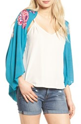 Hinge Women's Floral Bora Cocoon Wrap Teal Combo
