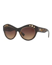 Versace Grommet Cat Eye Sunglasses Havana