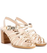 A.P.C. Metallic Leather Sandals Gold