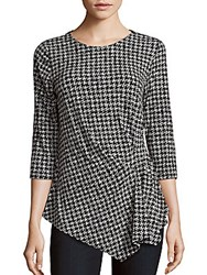 Vince Camuto Roundneck Houndstooth Top Antique White