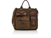 Campomaggi Canvas And Leather Tote Green