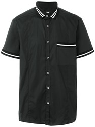Les Hommes Short Sleeve Fitted Shirt Black