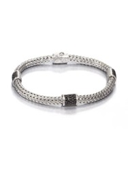 John Hardy Classic Chain Black Sapphire And Sterling Silver Four Station Bracelet Silver Black