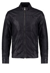Solid Gaston Faux Leather Jacket Black