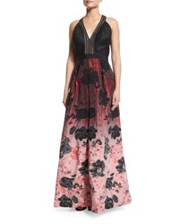 Carmen Marc Valvo Sleeveless Floral Ombre Gown Black Crimson