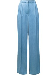 Sonia Rykiel Wide Leg Chambray Trousers Blue