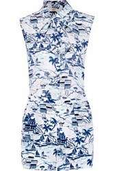 L'agence Behati Pussy Bow Printed Silk Playsuit Ivory