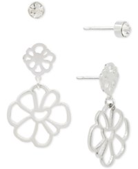 Touch Of Silver Plated 2 Pc. Set Crystal Stud And Flower Drop Earrings Silver