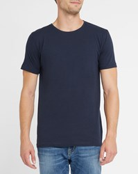 Knowledge Cotton Apparel Navy Organic Round Neck T Shirt Blue