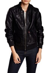 Levi's Faux Leather Hooded Jacket Black