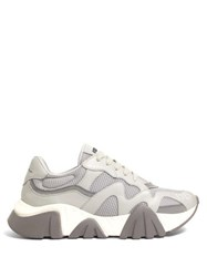 Versace New Squalo Leather And Mesh Trainers Grey