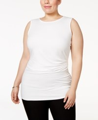 Alfani Plus Size Ruched Shell Only At Macy's Soft White