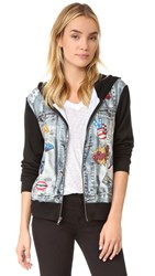 Terez Jean Jacket Zip Up Hoodie Multi
