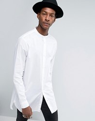 Allsaints Shirt In Longline Fit With Grandad Collar Optic White
