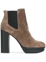 Hogan Platform Ankle Boots Nude And Neutrals