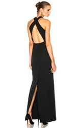 Calvin Klein Collection Kaye Long Cross Back Evening Dress In Black