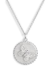 Olivia Burton Crystal Butterfly Disc Pendant Necklace Silver