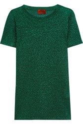 Missoni Metallic Crochet Knit Top Green
