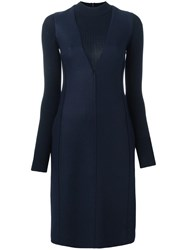 Paul Smith Turtleneck Layered Effect Dress Blue