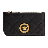 Versace Black Tribute Zip Card Holder