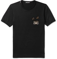 Dolce And Gabbana Slim Fit Embellished Cotton Jersey T Shirt Black